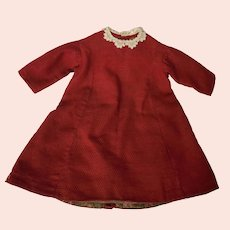 Antique C. 1870's Handmade Little Girl's Dress w/Lace Collar & Brown Floral Lining