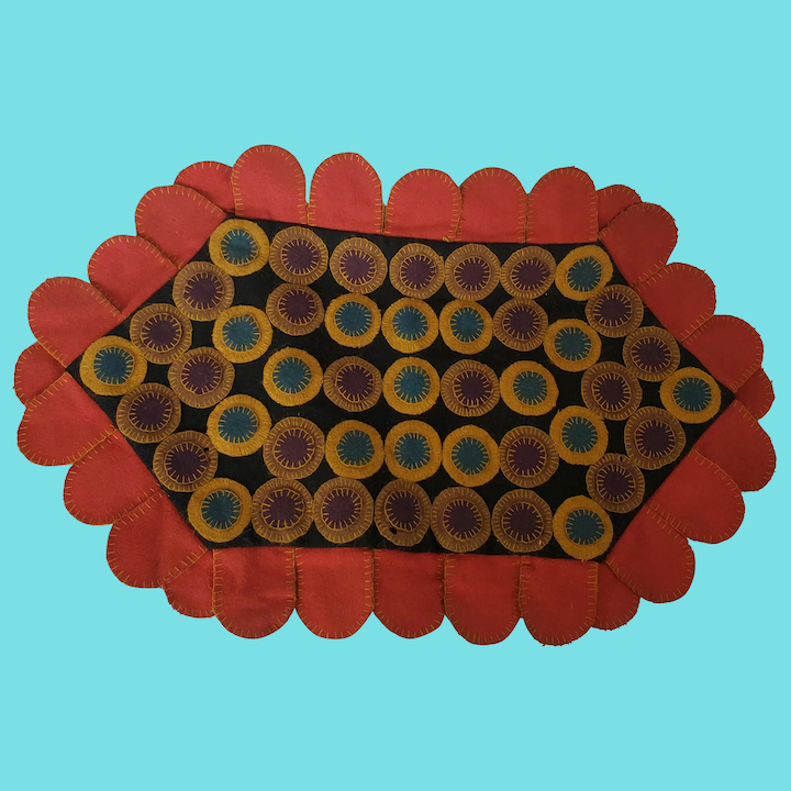 Folk Art Multi Color Felt Penny Rug