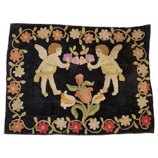 Antique 19th C. Naive Victorian Folk Art Hooked Mat Depicting 2 Cherubs