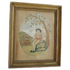 Antique Silk Embroidery on Linen of Musician with Dog & Sheep