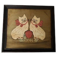Naive Antique 19th C. Folk Art Punch Needlework on Silk of 2 White Cats