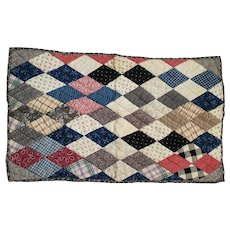 Antique Early 1900's Primitive Folk Art Diamond Pattern Doll Quilt