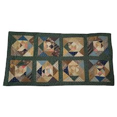 Vintage Folk Art Diamond Patchwork Doll Quilt or Table Mat