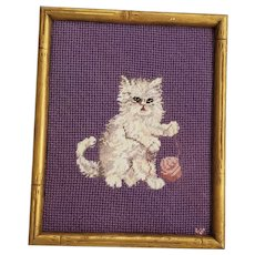 Vintage Folk Art Needlepoint Embroidery of White Kitten w/Ball of Yarn