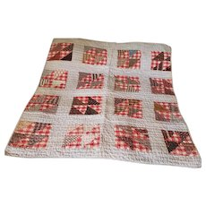 Antique Late 19th Early 20th C. Split 4-Patch Crib Quilt in Early Red & Brown Fabrics