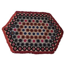 Vintage Primitive Folk Art Hexagonal Penny Rug with Fringe