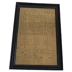 Antique 1820 Sampler with 3 Trees and Verse from Noted Ohio Collection