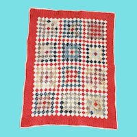 Antique ca. 1890 Postage Stamp Crib Quilt in Great Old Fabrics