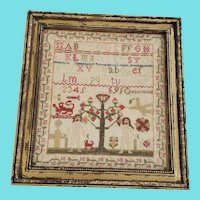 19th C. English Folk Art Adam & Eve Sampler