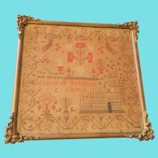 "Antique 1845 English Sampler Depicting ""A View of Wrexham Church"""