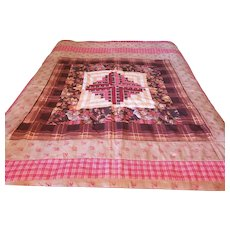 19th C. Folk Art Log Cabin Center Medallion Quilt Top With Early Fabrics inc. Chintz