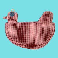 Sweet Vintage Folk Art Red & White Checked Fabric Chicken Pot Holder