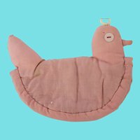 Sweet Vintage Folk Art Pink Fabric Chicken Pot Holder