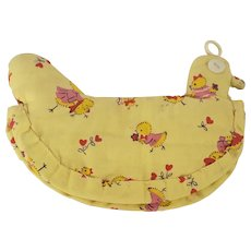 Sweet Vintage Folk Art Yellow Baby Chick Print Fabric Chicken Pot Holder