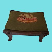Vintage Dog on Cushion Needlepoint Top Footstool from my Collection