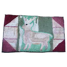 Antique Ca. 1900 Folk Art Abstract Design Stag Hooked Rug
