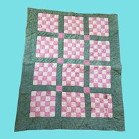 Antique 19th C. Folk Art Double-Sided 16-Patch & Bars Design Crib Quilt