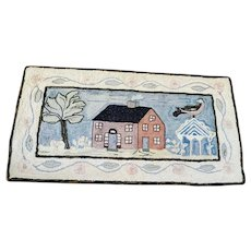 Antique Late 19th Early 20th C. Folk Art Hooked Rug w/House & Oversize Bird