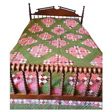 Near Mint Antique 19th C. Double 9-Patch Quilt in Great Early Fabrics