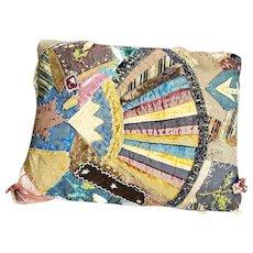 Antique Victorian Folk Art Crazy Quilt Pillow w/ Fan, Star, Horse, Flowers ++