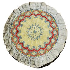 "Large 21"" Diameter Antique Victorian Needlepoint & Brocade Fabric Pillow"