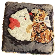 Adorable Vintage Folk Art Puppy Kissing Kitten Hooked Pillow