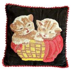 Cute Vintage Folk Art Kittens in Basket Hooked Pillow