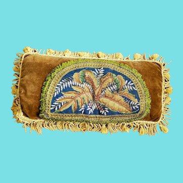 "Large 24"" x 11"" Victorian Needlepoint & Bead Leaf Design Pillow"