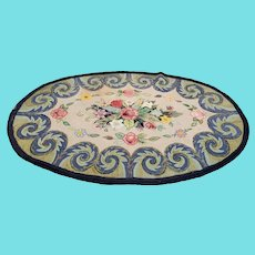 "Large 78"" x 50"" Handmade Floral & Swirl Design Hooked Rug"