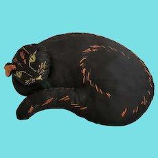 Vintage PA. Folk Art Reclining Black Cat Cushion Whimsy
