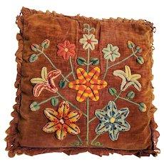 "Late 19th Early 20th C. PA Folk Art ""Flower Tree"" Design Stump Work Pillow"