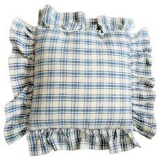 Vintage Handmade Homespun Pillow Cover w/Ticking Insert