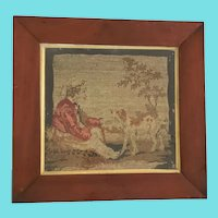 19th C. Framed Needlepoint of Boy & His Dog