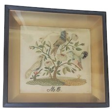 Mid 19th C. English Folk Art Stumpwork 3 Birds in Flowering Tree