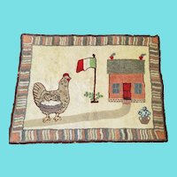 Vintage Signed & Dated 1969 Folk Art Hooked Rug w/Hen & Eggs, Flag, & House