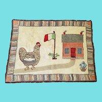 Vintage Signed & Dated 1969 Folk Art Hooked Rug w/Hen & Eggs, Flag, & House