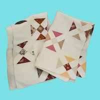 Rare Matched Pair of PA. Folk Art Patchwork Pillowcases