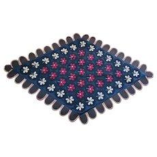 Antique Ca. 1900 PA. Folk Art Flower Pattern Wool Felt Penny Rug