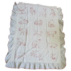 Vintage Folk Art Redwork Animal Motif Youth Quilt w/Ruffle from my Collection