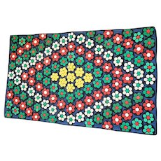 Vintage 1930's-40's Folk Art Flowers in Concentric Diamonds Penny Rug