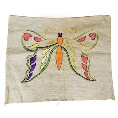 Antique Arts & Crafts Richardson's Pattern Butterfly Pillow Cover
