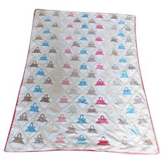 Rare Antique 1870's Key Basket Summer Quilt With 111 Baskets From My Collection