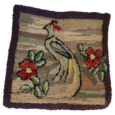 Antique Folk Art Peacock Design Hooked Rug Chair Pad