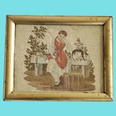 Antique ca. 1860 English Victorian Needlepoint of Girl, Cat, & Fallen Birdcage