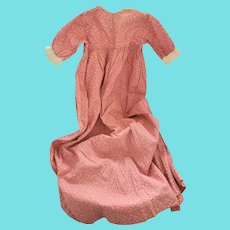 Antique ca. 1880 Near Mint Red Sprigged Cotton Calico Infant's Dress