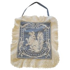 Rare Near Mint Antique Homespun Lady's Work Pocket w/Embroidered Squirrel from my Collection