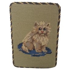 Vintage Kitten on Pillow Needlepoint Doorstop