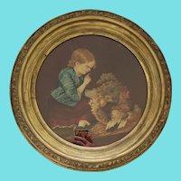 19th C.  Folk Art American Sheared Wool Picture of Girl w/Hen & Chicks