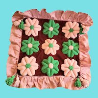 Vintage PA. Amish Folk Art Pink & Green Flower Design Stumpwork Pillow Cover