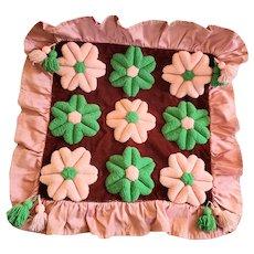 Vintage PA. Amish Folk Art Pink & Green Flower Design Stumpwork Pillow Cover